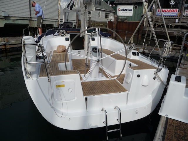 Wanchese built sailboat at boat show-11